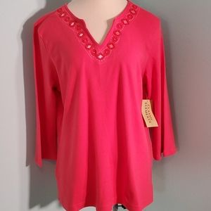 Classic elements ladies peach large top. NWT